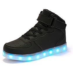 AFFINEST Hoch oben USB aufladen LED Schuhe blinken Fashion Sneakers für Kinder Jungen Mädchen Neujahr Weihnachtsgeschenke(EUR35, Schwarz)