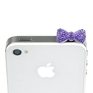 JAVOedge Sparkle Bow Charm for Headphone Jack (Purple) (Quantity x 1)