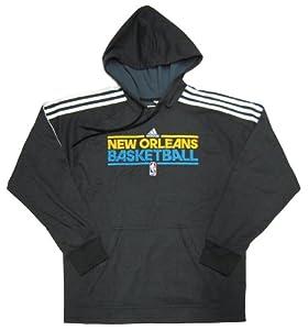 NBA New Orleans Hornets Adidas Practice Hood II - Hooded Sweatshirt - Black White by adidas