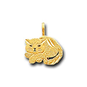 14K Solid Yellow Gold Light Cat Kitty Charm Pendant