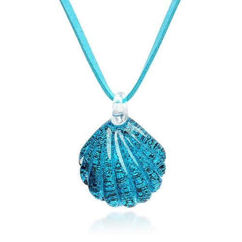 Hand Blown Venetian Murano Glass Ocean Blue Sea Shell Shaped Pendant Necklace, 18-20 inches