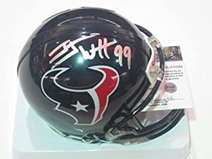 J.J Watt Houston Texans Signed Autographed Mini Helmet Authentic Certified COA by all-star sports