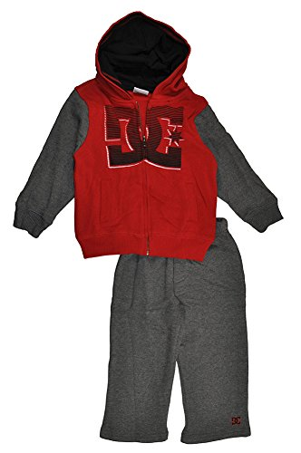 """Dc Shoes Baby Boys' Toddler """"Dc Stripes"""" 2-Piece Fleece Sweatsuit - Red, 12 Months front-912014"""
