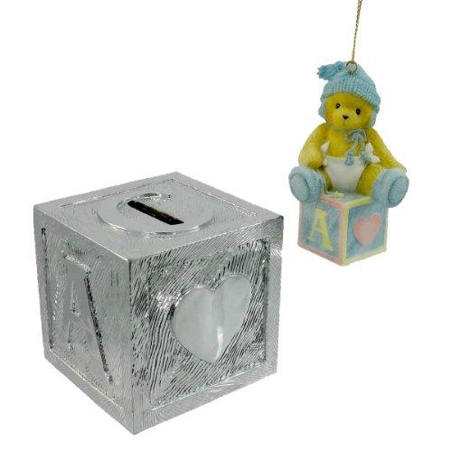 Cherished Teddies Baby Boys 1St Christmas 118396 Teddy Bear Bank Block Ornament front-962038