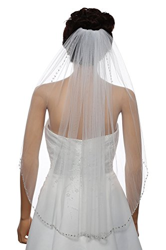 EllieHouse Women's Crystal Short Fingertip Wedding Bridal Veil With Free Comb Ivory E84