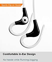 BoomSlang Wireless Bluetooth Clip On in-ear Sports Noise Cancelling Earphones Headset Sweat Splash proof for Running/Gym/Training with Built-In Mic for bluetooth enabled iOS and Android Mobiles/Tablets (White & Black)