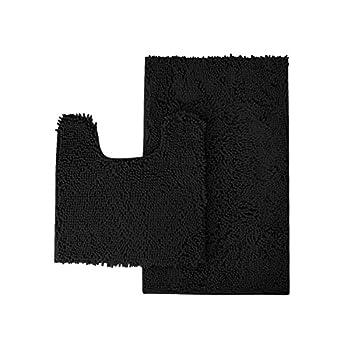"Mayshine Bathroom rug toilet sets and Shaggy Non slip Machine washable Soft Microfiber bath Contour mat (Black,32""20""/20""20""U-Shaped) …"