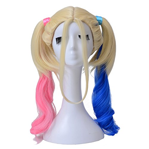 [Z-COSPLAY Blue Mix Pink Rule Cosplay Wig with 2 Pigtails for Halloween and Party] (Easy Movie Inspired Costumes)
