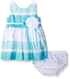 Rare Editions Girls\' Burnout Striped Dress, Turquoise/White, 18 Months