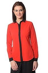 Meira Full Sleeve Regular Collar Red Poly Crepe Shirt for Women (Large)