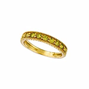 14 Karat Yellow Gold stack Motif Ring Enhanced With Champagne Diamonds. (yellow-Color SI-Clarity 0.16-Carat)