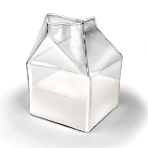 1 X LOCOMOLIFE Half Pint Blown Glass Mini Milk Creamer Carton Container