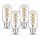 Jslinter Vintage Edison LED Light Bulbs, 4W Dimmable Antique T14(T45) Style Bulb, Spiral Long Filament 2300K, 180 Lumens, Indoor Decorative E26 Base(4 Pack) (Color: T45 Clear 4-pack, Tamaño: T45 (4 Pack))