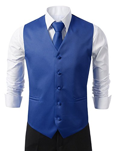 Brand Q 3pc Men's Tuxedo Vest,Neck Tie,Pocket Square Set for Suit or Tuxedo (L, Royal Blue) (Men Blue Suit compare prices)
