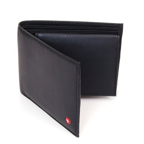 Alpine Swiss Men's Leather Bifold Wallet with Flip Up ID Window - Removable - Black Comes in a Gift Bag