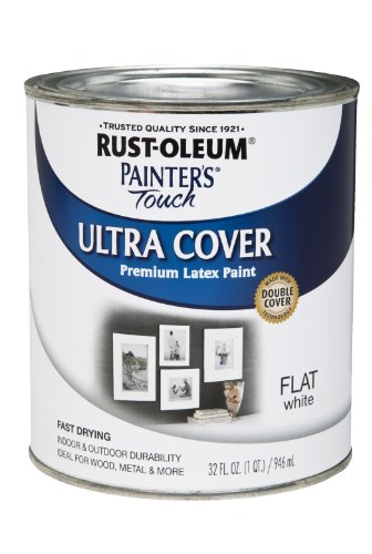 Rust-Oleum 1990502 Painters Touch Latex, 1-Quart, Flat White (White Paint Outdoor Wood compare prices)