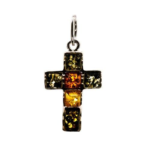 Multicolor Amber Sterling Silver Cross Pendant
