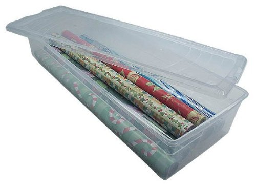 IRIS USA 105000 30 Wrapping Paper Storage Box, Clear