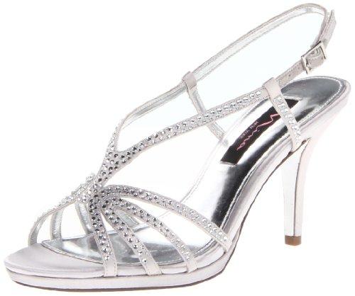 Nina Women'S Bobbie Js Dress Sandal,Silver Satin,8 M Us front-533805
