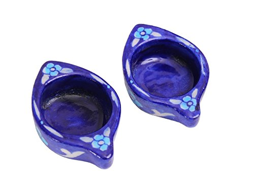 Store Indya Pottery Tea Light Candle Votive Holder with Hand Painted Floral Motifs, Set of 2 (Cobalt Blue Tea Light Holders compare prices)