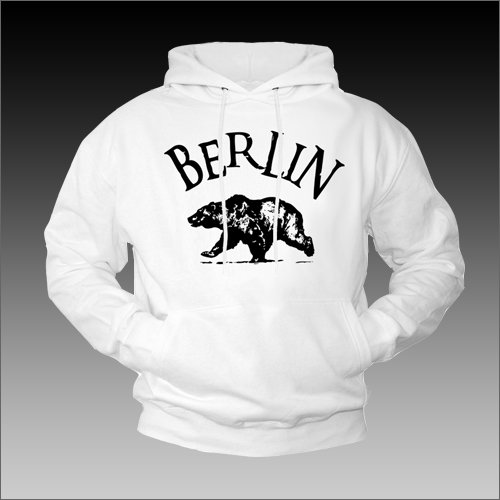 College Hoodies for Men BERLIN Hooded Sweatshirt Pullover White XXL