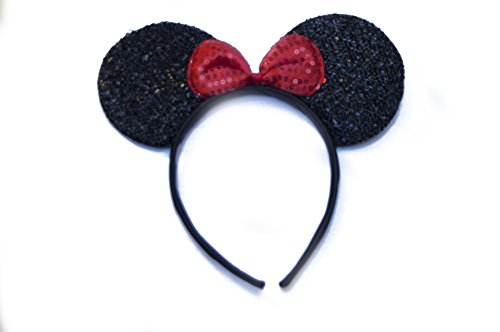 Minnie Mouse Ears Headband Sparkle Design With Red Bow
