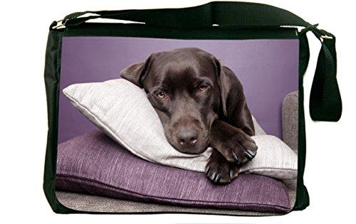 Rikki Knighttm Black Labrador Dog On Pillows Messenger Bag - - Shoulder Bag - School Bag For School Or Work - With Matching Coin Purse front-595016