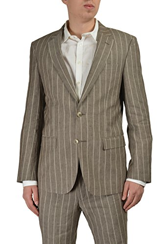 06121bdf3 Hugo Boss T-Hovers/Glovers Men's Gray Wool Silk Striped Suit Size US ...