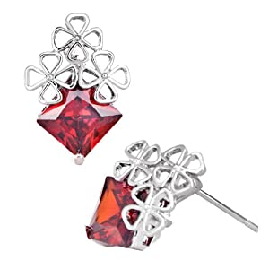 Pugster Jul Birthstone Light Red Square Crystal Clover Stud Earrings