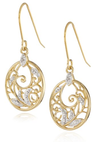 Yellow Gold Plated Sterling Silver Diamond Accent Floral Dangle Earrings: Jewelry