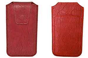 TOTTA PU Leather Pull Up Pouch For Micromax Canvas Nitro 2 E311 RED