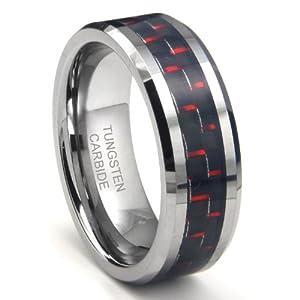 RED & BLACK Carbon Fiber Inlay 8MM Men's Tungsten Carbide Ring Sz 9.5