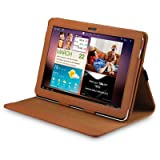 TAN SAMSUNG GALAXY TAB 10.1 P7510- GALAXY TAB 2- PU LEATHER FLIP CASE / WALLET / COVER / POUCHby ALPHA GADGETS