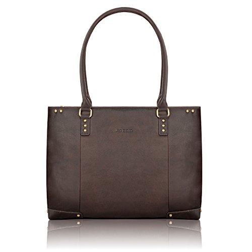 04. Solo Vintage Collection Women's Leather Carryall for Laptops up to 15.6 Inches, Dark Brown (VTA801)