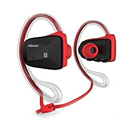 Jabees BSport Bluetooth Sweatproof Sports Headphones(Red) with Removable clear earphone and cable cinch for secure fit and with Built-in microphone for iPhone/iPad/iTouch/Samsung/HTC and Other Smart Phones Tablets with iOS/Android/Window for Wireless Music and Call
