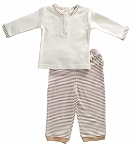 Tadpoles Organic Cotton Boys Pant and Top 2 Piece Set , Cocoa, 0-3 Months