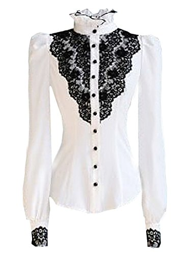 Choies Women's Vintage With Black Lace Stand-Up Collar Puff Long Sleeve Shirt xl (Vintage Women Tops compare prices)