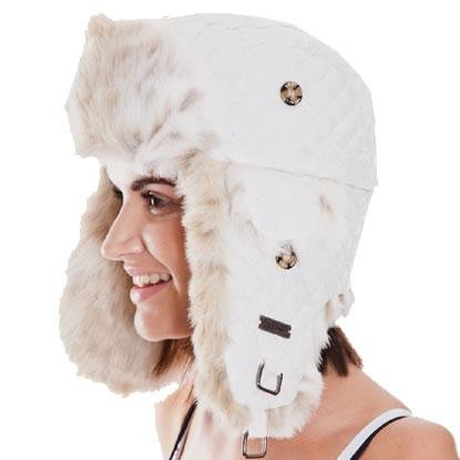 Barts Kamikaze Trapper Hat - White Quilted picture.    c8ffe1098f8a