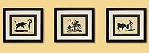 3 kunstdrucke bilder pablo picasso bullfighter picador don quixot signiert mit rahmen. Black Bedroom Furniture Sets. Home Design Ideas
