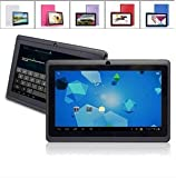 7 inch Capacitive Touch Screen Allwinner A13 10GHz CPU up to 15GHz maximumlyProcessor Android 403 Latest Ice Cream Sandwich OS Tablet PC 4GB HDD 512MB WiFi MID Epad Flash Player 111 - Compatible with BBC iPlayer Youtube Facebook by Dx-mall Black