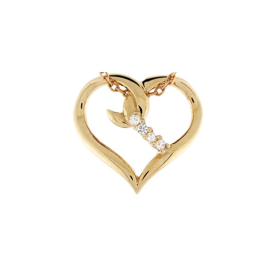 14k Solid Gold 0.06cttw Diamond Heart Fancy Charm Pendant