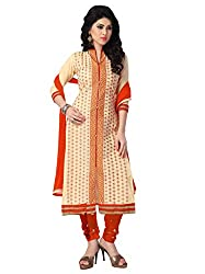 Justkartit Women's (& Girls) Unstitched Beige & Saffron Colour Simple & Sober Chudidar Suit / Casual wear Stylish Churidar Salwar Kameez / Party wear Salwar Suit