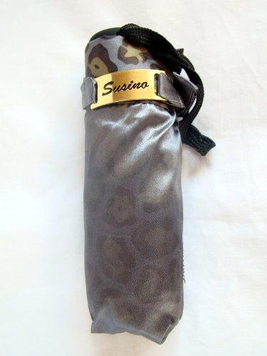 Two Tone Super Mini Compact Umbrella Satin Fabric Luxury Grey/Leopard Print Design