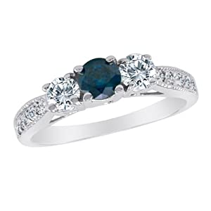 Platinum 3 Stone Blue Diamond and White Diamond Ring With Milgrain Pave Set Shank (1 cttw) Size 12