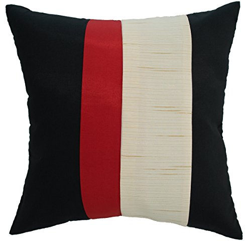 Avarada Striped Crepe Throw Pillow Cover Decorative Sofa Couch Cushion Cover Zipper 16 x 16 Inchs