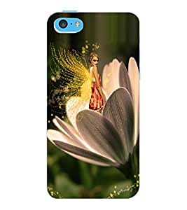 ColourCraft Angel on Flower Design Back Case Cover for APPLE IPHONE 5C