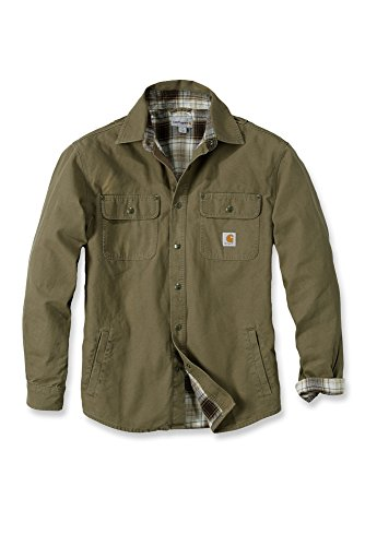 Carhartt camicia da lavoro, arbeitsshirt, Arbeitsjacke Canvas Shirt Jacket invecchiato marrone frontiera m