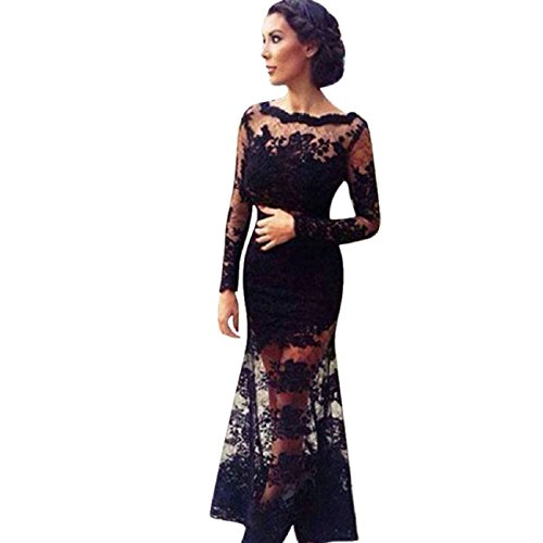 Tonsee Backless Lace Patchwork Maxi Dress (2)