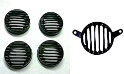 Bikers World Customised Black Combo Very Heavy Metal Tail Light Grill + Indicator Grills For Royal Enfield