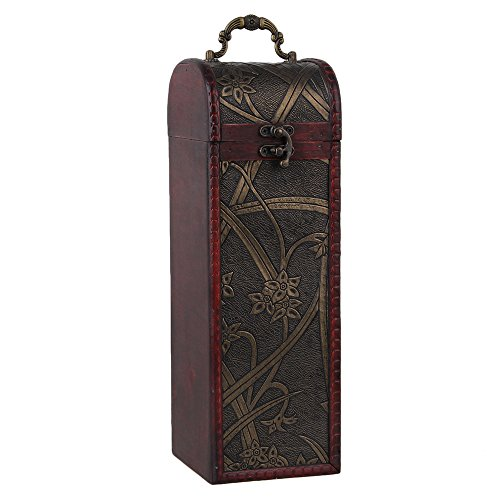 BQLZR Natural Wooden Vintage Wine Bottle Box for 1 Bottle Gift Set Daffodil Pattern Rectangular Cylinder With Handle
